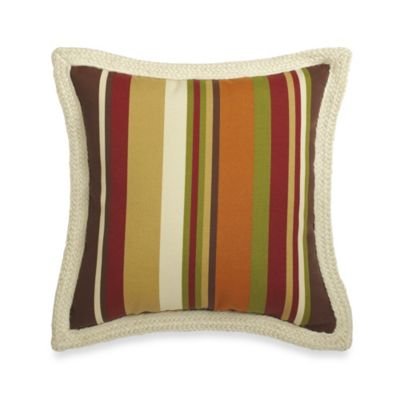 Square Outdoor Throw Pillow with Trim in Chocolate Stripe