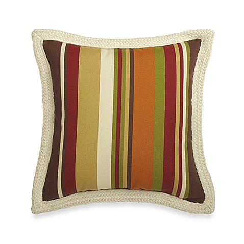 Decorative Pillow Trim : Square Outdoor Throw Pillow with Trim in Chocolate Stripe - Bed Bath & Beyond