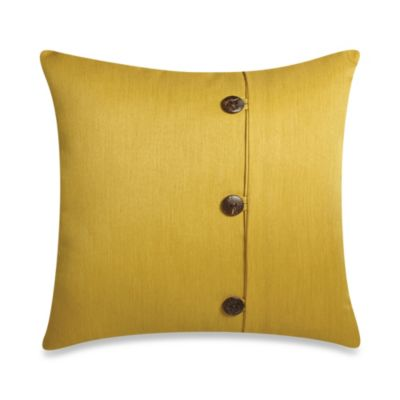 Square Outdoor Throw Pillow with Buttons in Sunkissed
