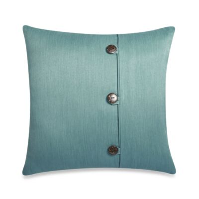 Square Outdoor Throw Pillow with Buttons in Surf