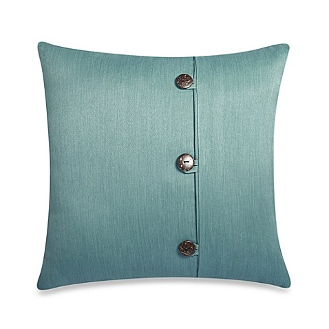 Square Outdoor Throw Pillow with Buttons in Surf - Bed Bath & Beyond