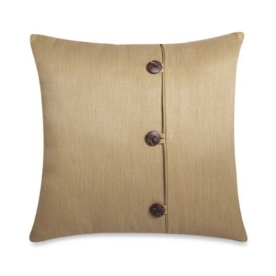 Square Outdoor Throw Pillow with Buttons in Sand