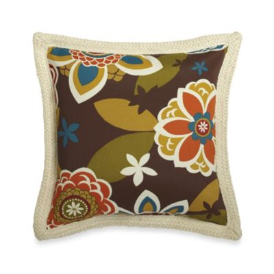18-Inch Square Decorative Pillow with Trim in Floral
