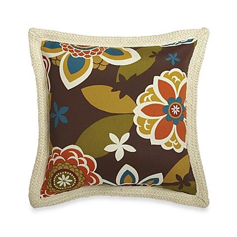 Throw Pillow Trim : Buy Square Outdoor Throw Pillow with Trim in Floral from Bed Bath & Beyond