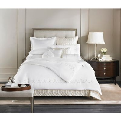 Barbara Barry Dream Pearls Queen Duvet Cover in White