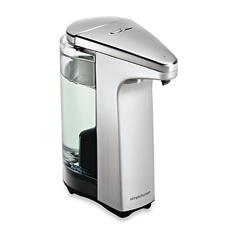 Simplehuman compact sensor pump soap dispenser with for Distributeur de savon automatique mural inox