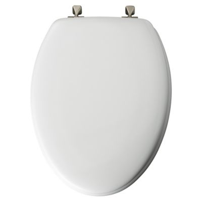 Mayfair Elongated Molded Wood Toilet Seat with Brushed-Nickel Hinge in White