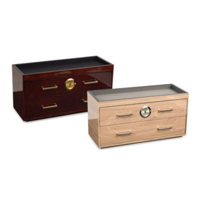 Meridian Humidor with Two Drawers in Blonde
