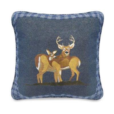 Donna Sharp Denim Square Deer Throw Pillow