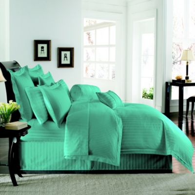 Wamsutta® Damask Stripe Twin Duvet Cover Set in Aqua