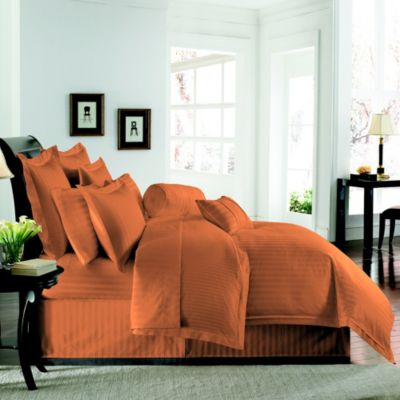 Wamsutta® Damask Stripe Twin Duvet Set in Coral