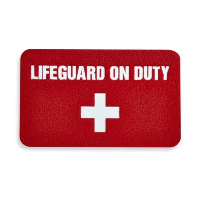 Kikkerland® Design Lifeguard 18-Inch x 30-Inch Doormat in Red/White