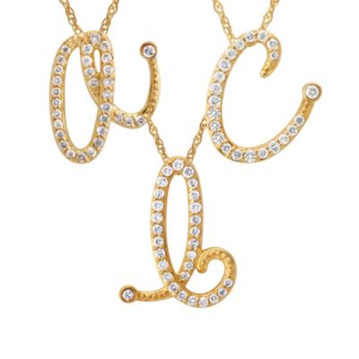 Violet and Sienna 14K Yellow Gold Diamond Initial Pendant Letter A