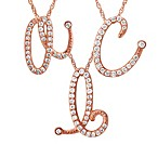 Violet and Sienna 14K Rose Gold Plated Diamond Initial Pendant