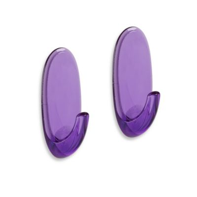 Command™ Clear/Purple Medium Hooks (Set of 2)