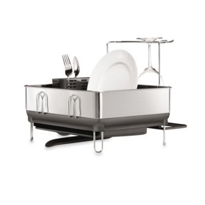 Buy Simplehuman 174 Steel Frame Dish Rack With Wine Glass