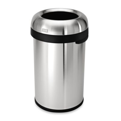simplehuman® Brushed Stainless Steel Bullet Open 80-Liter Trash Can