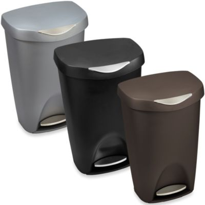 Umbra Brim 13-Gallon Step Waste Can in Nickel