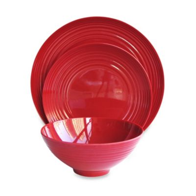 American Atelier Round 12-Piece Dinnerware Set in Red