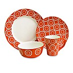 American Atelier Trellis 16-Piece Dinnerware Set in Orange
