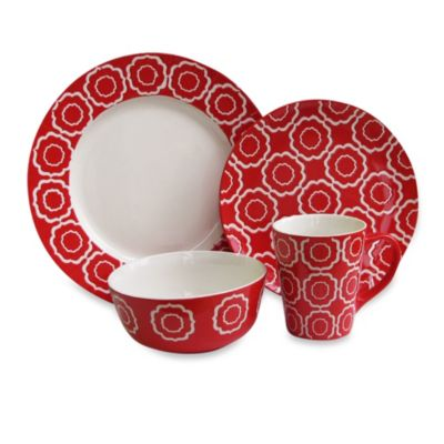 American Atelier Trellis 16-Piece Dinnerware Set in Red