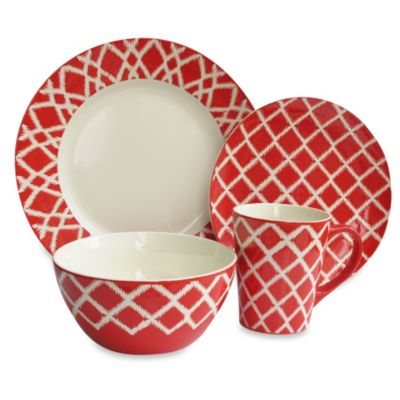 American Atelier Plaid 16-Piece Dinnerware Set in Red