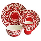 American Atelier Origami 16-Piece Dinnerware Set in Red
