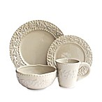 American Atelier Bianca Leaf 16-Piece Dinnerware Set in Grey