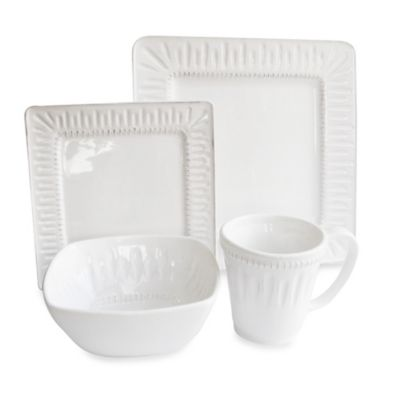 American Atelier Kenzie Square 16-Piece Dinnerware Set in White