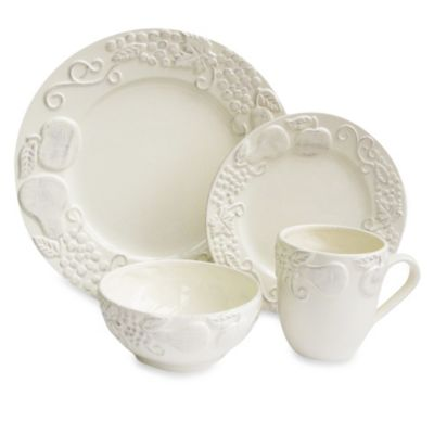 American Atelier Frutta 16-Piece Dinnerware Set in Cream