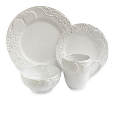 American Atelier Frutta 16-Piece Dinnerware Set in White