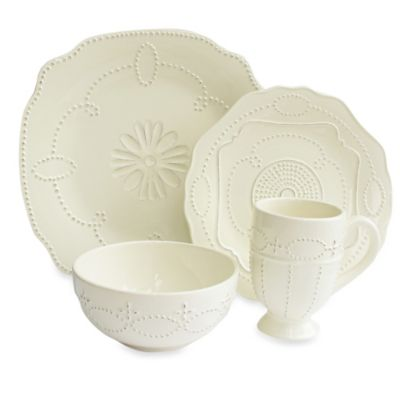 American Atelier Gabrielle Scallop 16-Piece Dinnerware Set in Cream