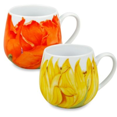 Konitz Snuggle Poppy and Sunflower Blossoms Mugs (Set of 2)