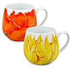 Waechtersbach Konitz Snuggle Poppy and Sunflower Blossoms Mugs (Set of 2)