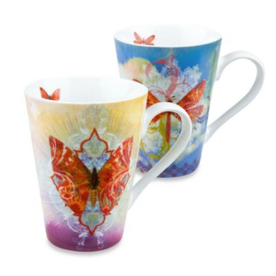 Konitz Butterfly and Dragonfly Dreams Mugs (Set of 2)