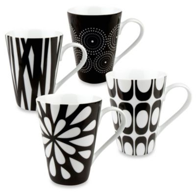Konitz Black and White Mugs