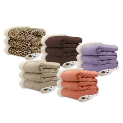 Biddeford Blankets® Micro Mink Sherpa Electric Heated Throw in Leopard