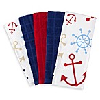 Anchor Print and Grid Solid 5-Pack Terry Kitchen Towel Set