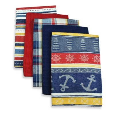 5-Piece Oversized Woven Kitchen Towel Set in Nautical