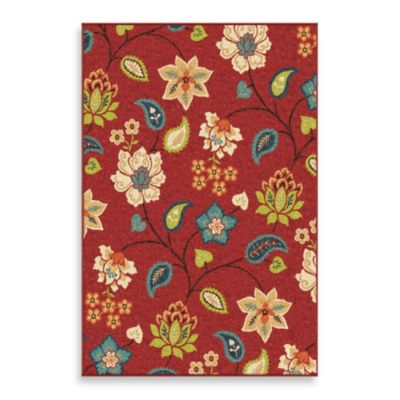 Orian Veranda Collection 5-Foot 2-Inch x 7-Foot 6-Inch Garden Chintz Rug in Red