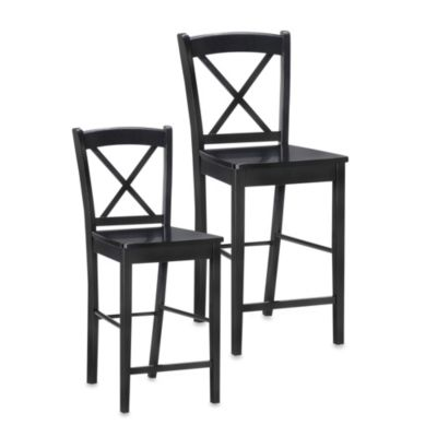 Linon Home 24-Inch X-Back Stool in Black