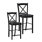 Linon Home X-Back Stool in Black