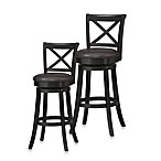 Linon Home X-Back Wood Swivel Stool