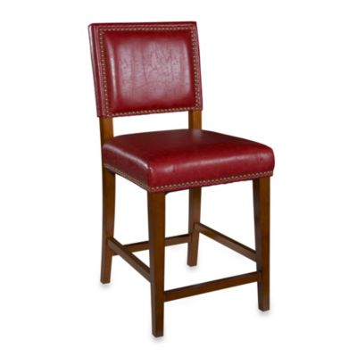 Linon Home Brook 24-Inch Counter Stool in Red