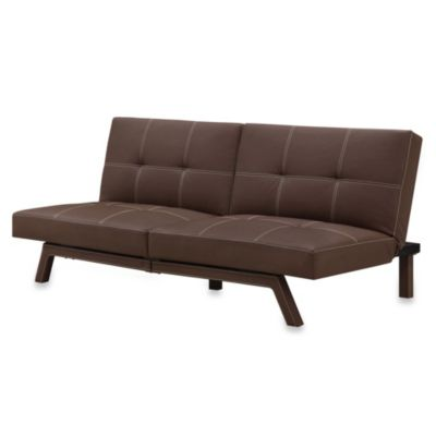 Delaney Split-Back Faux Leather Futon in Black