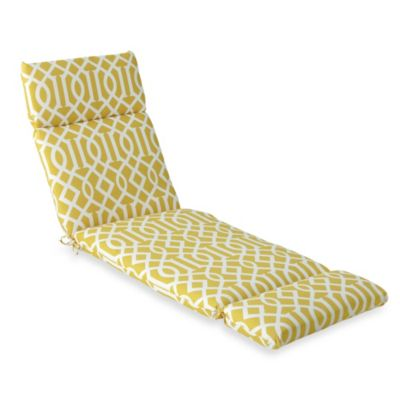 Chaise Cushion in Yellow Trellis