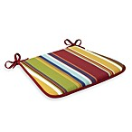Bistro Chair Reversible Cushion with Ties in Bright Stripe/Red
