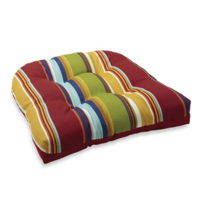 4.5-Inch Thick Tufted Cushion in Bright Stripe/Red