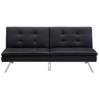 Chelsea Convertible Faux Leather Futon in Black