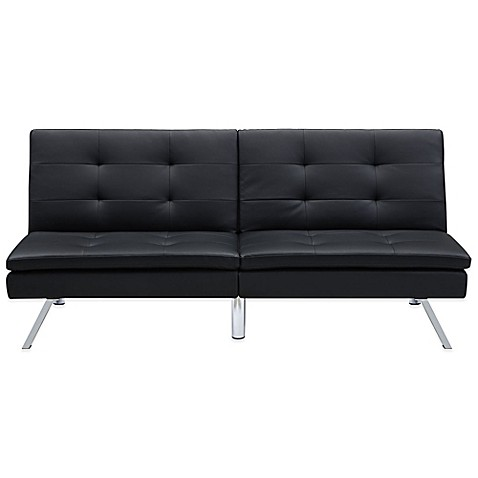 faux leather futon in black the chelsea convertible faux leather futon